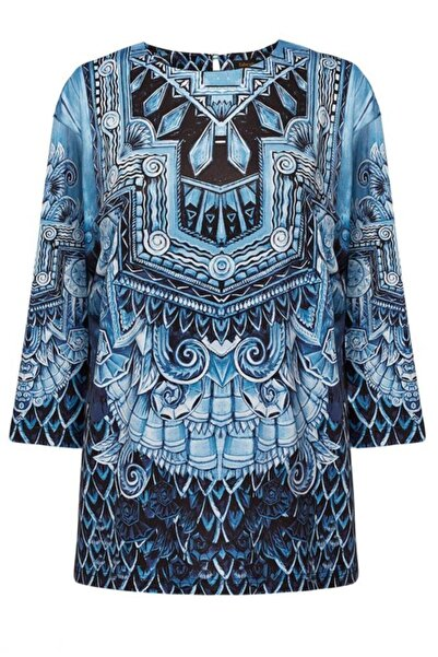 Faberlic Mavi Desenli Triko Bluz 34 Beden