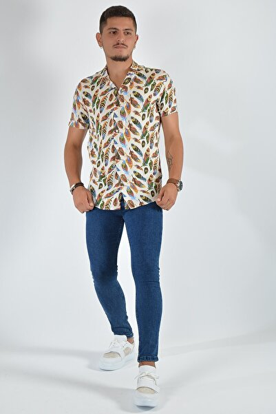 Terapi Men Erkek Kısa Kollu Desenli Gömlek 20y-43000483 Beyaz