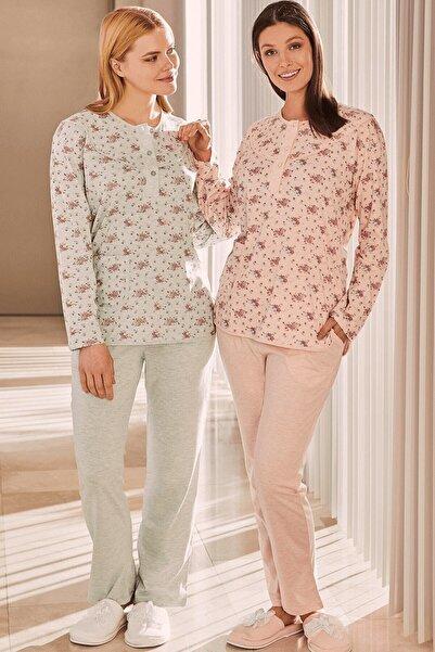 Mecit Pijama Turkuaz Büyük Beden Kadın Pijama Takımı