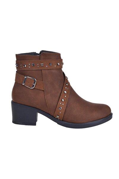 Alens 5183 Taba Cilt 5 Cm Topuklu Bayan Bot Ayakkabı