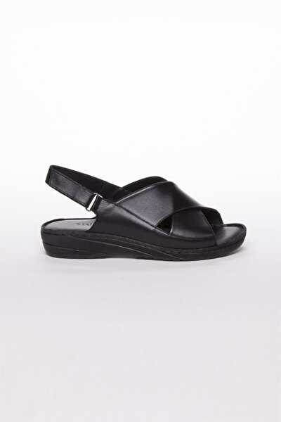 Deripabuc Hakiki Deri Siyah Kadın Deri Sandalet Dp05-0247