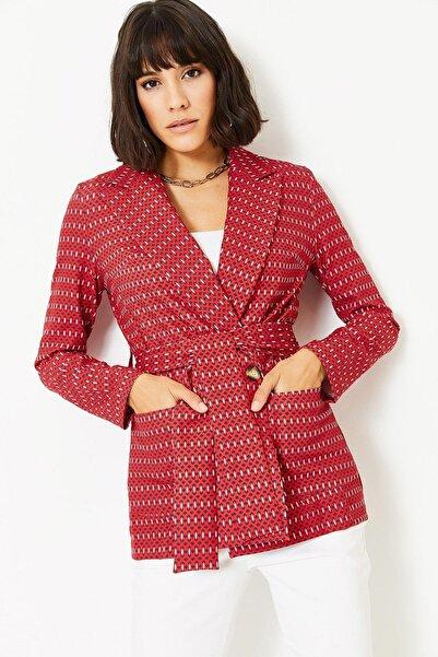 Lafaba Kadın Kırmızı Desenli Ceket
