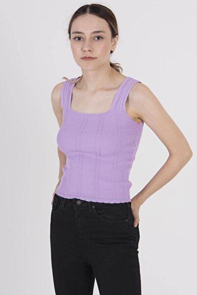 Addax Kadın Lila Kalın Askılı Triko T5585 - E11 ADX-0000022937