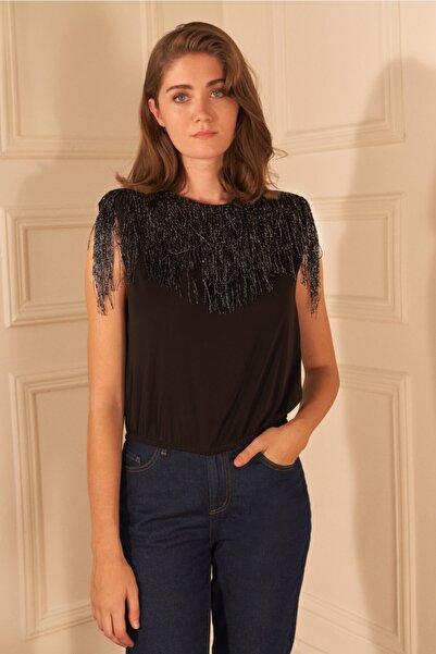 adL Kadın Siyah Püsküllü Vatkalı Kolsuz Bluz