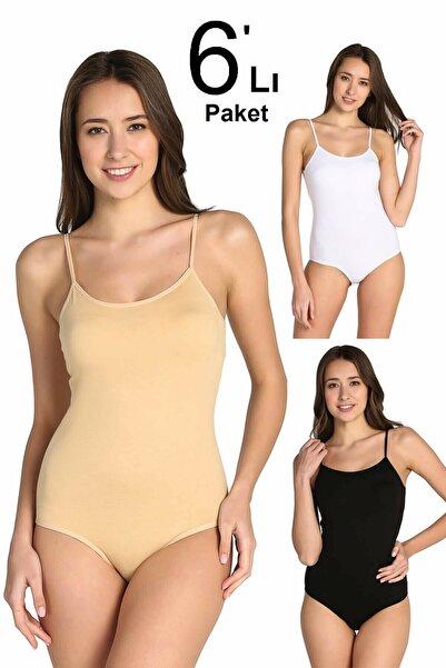 Tutku Kadın Karışık Renk 6'lı Paket Ip Askılı Likralı Kancalı Çıtçıtlı Body Elf568t0148ccm6