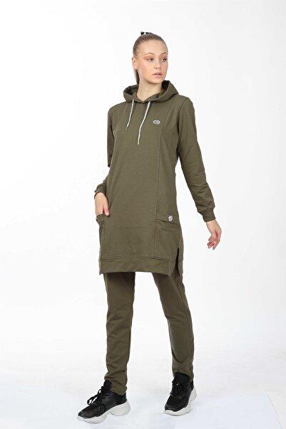 LONGER Kadın Haki Kapüşonlu Tunik Eşofman Takımı S-m-l-xl-xxl