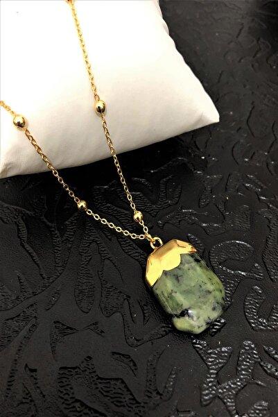 Dr. Stone Dr Stone Golden Serpantin- Yılan Taşı 22k Altın Kaplama El Yapımı Kadın Kolye Tkrb11