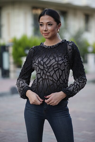 ZİNDİ Kadın Transparan Bluz Siyah