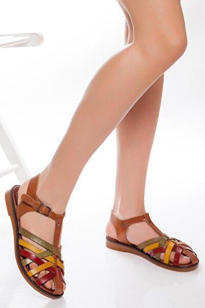 Deripabuc - Çeşme Deripabuc Hakiki Deri Multi-1 Kadın Deri Sandalet RMA-3081