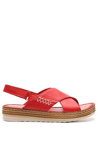 Bulldozer 201890 Kırmızı Kadın Deri Sandalet