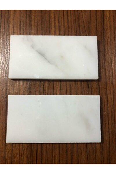 LENA 4 Adet 1x7,5x15 Beyaz Mermer Dekoratif Doğaltaş Sunumluk