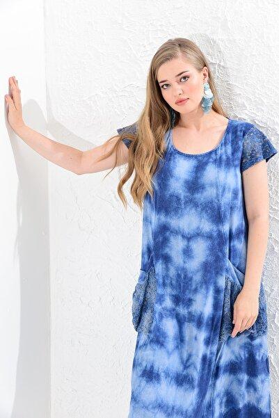 Big Free Bayan Batik Yıkamalı Kol Tül Nakışlı Cepli Elbise