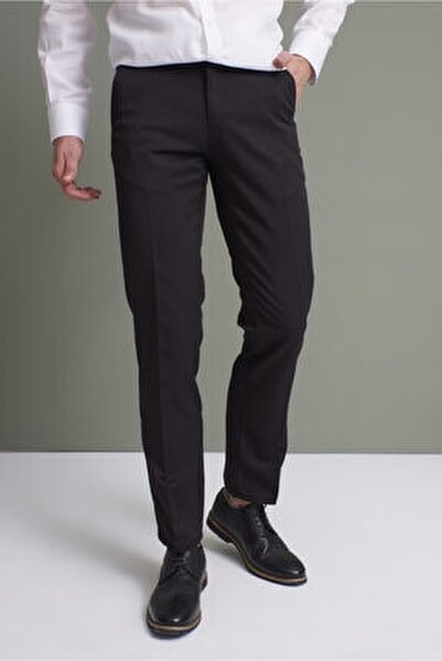 Erkek Siyah Klasik Rahat Kalıpkumaş Pantolon