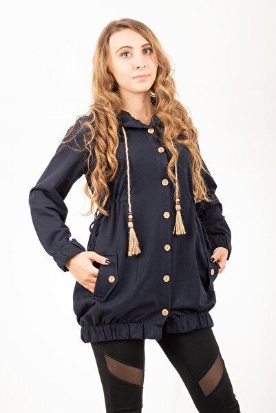 iğde Kız Lacivert Boydan Düğmeli Cepli Tunik Ceket