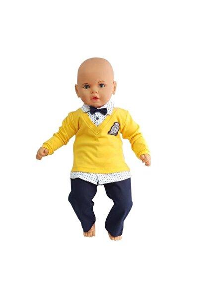 bebegen Lüx Armalı Papyonlu Pantolonlu Sarı Bebek Takımı