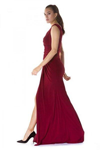 Bordo Sandy Yırtmaçlı Uzun Abiye Elbise