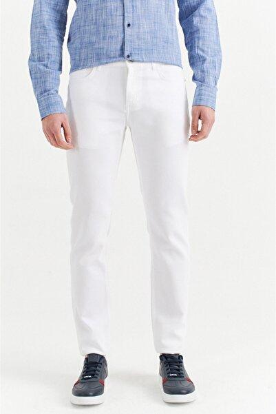 Avva Erkek Beyaz 5 Cepli Armürlü Slim Fit Pantolon A01y3044