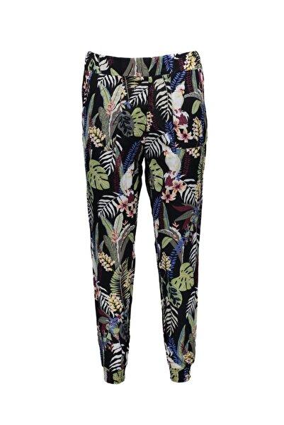 Collezione Yeşil Cepli Paçası Lastikli Desenli Kadın Pantolon