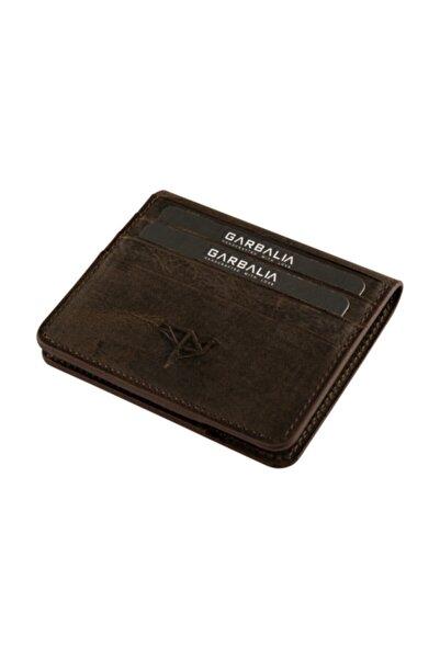 Garbalia Vintage Deri Kahverengi Erkek Kartlık Cüzdan %100 El Yapımı Dana Derisi