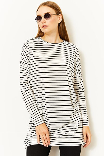 Lafaba Kadın Beyaz Çizgili Uzun Kollu T-shirt