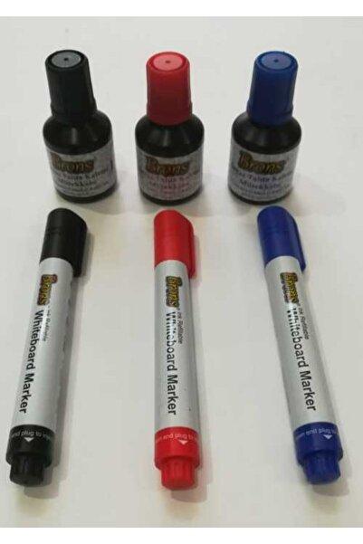 Brons Tahta Kalem Seti (3 Renk Birer Adet Doldurulabilir Tahta Kalem Ve 3 Renk Birer Kutu Mürekkeb)