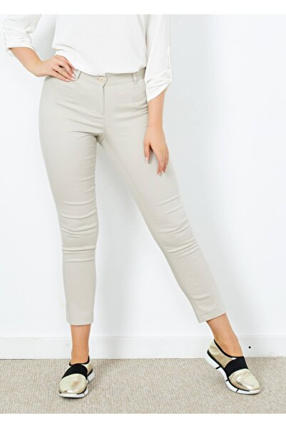 Adze Kadın Taş Klasik Kesim Dar Paça Pantalon Tas 44