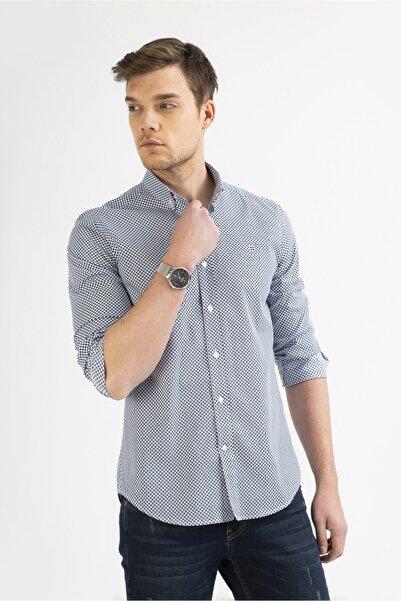 Avva Erkek Mavi Baskılı Alttan Britli Yaka Slim Fit Gömlek A92y2227