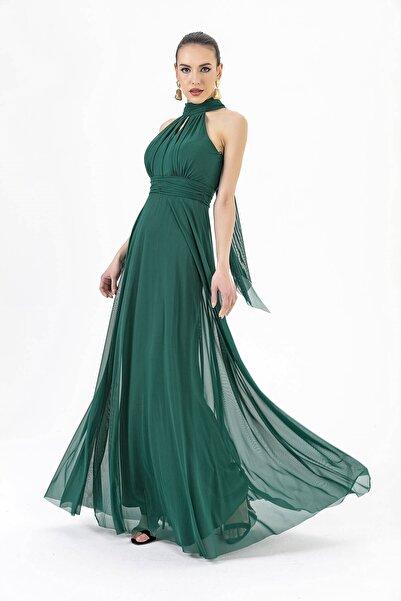 By Saygı Boyun Bağlamalı Uzun Tül Abiye Elbise Yeşil