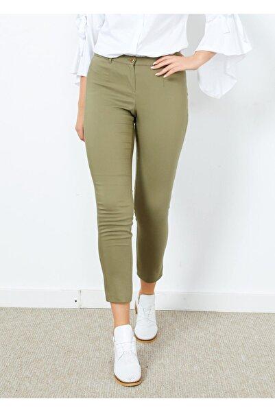 Adze Kadın Haki Klasik Kesim Dar Paça Pantalon Hakı 44