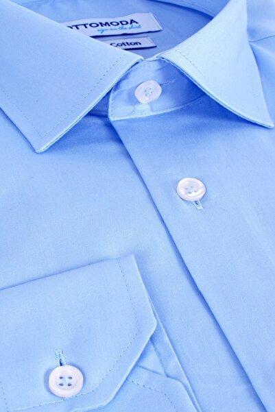 Ottomoda Cepli Uzun Kollu %100 Pamuk Saten Açık Mavi Klasik Gömlek