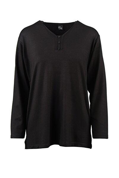 Trikolay Büyük Beden V Yaka 3 Dugmelı Anne Penye Bluz