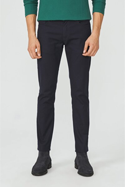 Avva Erkek Lacivert 5 Cepli Armürlü Slim Fit Pantolon A02y3056