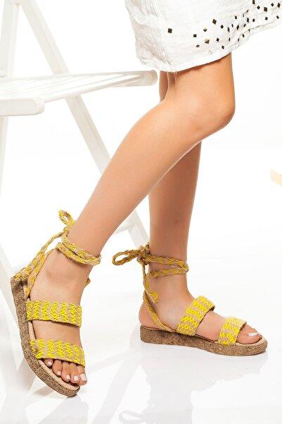 derithy Kadın Sarı Sandalet