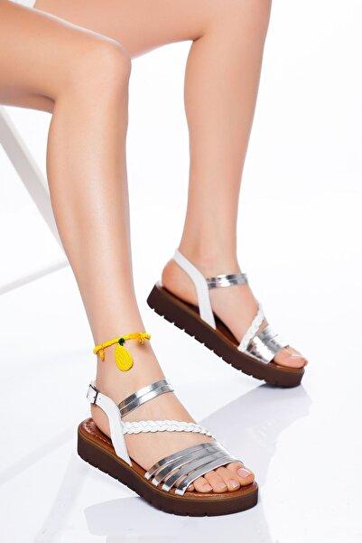 derithy Kadın Beyaz Gümüş Sandalet