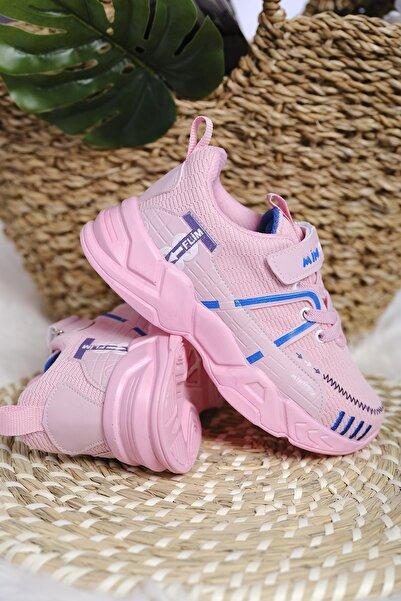 Oksit Unisex Çocuk Pembe Çizgi Detaylı Örgülü Kalın Taban Sneaker
