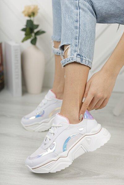 Aksesuar Borsası Kadın Beyaz Hologramlı Yüksek Taban Spor Ayakkabı