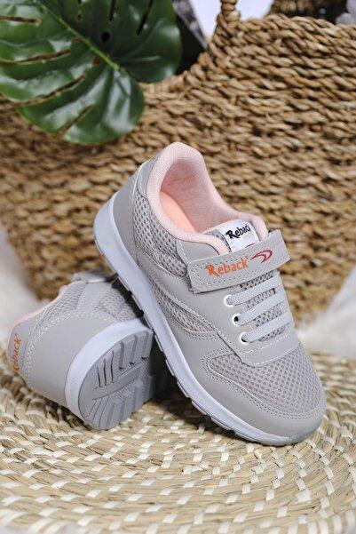 Oksit Unisex Çocuk Gri Pembe Cırtlı File Detaylı Kalın Taban Sneaker