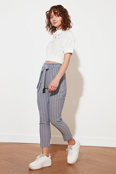 TRENDYOLMİLLA Mavi Petite Bağlamalı Pantolon TWOSS21PL0521