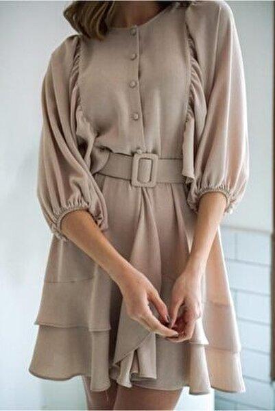 Kadın Bej Yarasa Kol Keten Efektli Elbise