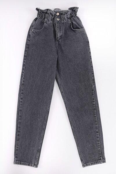 vayro Kadın Füme Kot Yüksek Bel Jean Beli Lastikli Pantolon