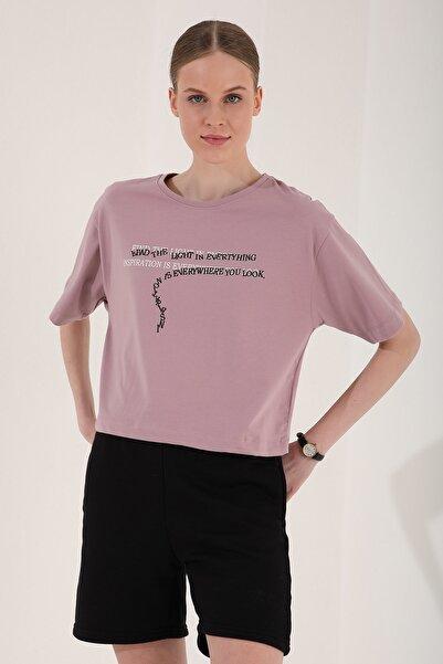Tommy Life Kadın Gül Kurusu Yazı Baskılı Kısa Oversize O Yaka T-shirt - 97135