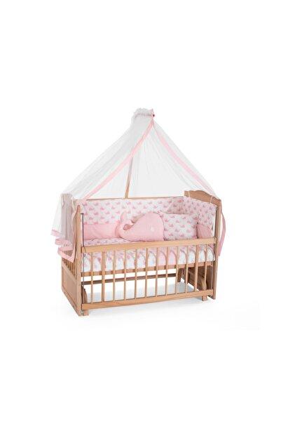 Heyner Ahşap Beşik Anne Yanı Beşik Sallanır Beşik Organik 60x120 + Pembe Balina Uyku Seti + Yatak
