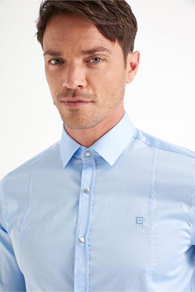 Avva Erkek Mavi Düz Klasik Yaka Slim Fit Gömlek B002217