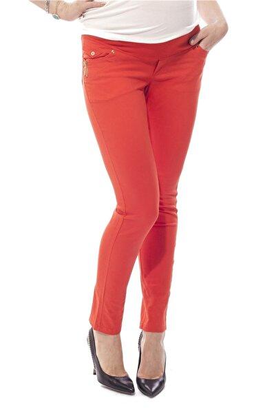 BUSA Hamile Gabardin Pantolon Arka Bağcıklı Paça Model Turuncu