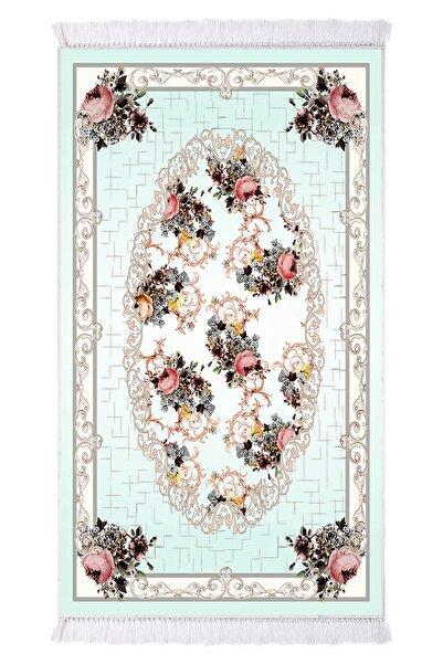 EXCLUSIVE Saray Dijital Halı Saçaklı Judy Çiçekli Mint Beyaz