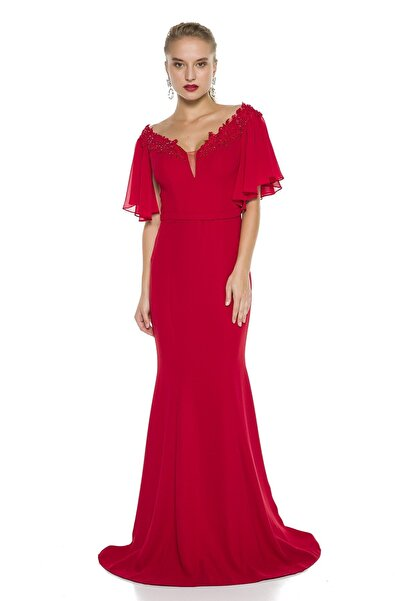 Abiye Sarayı Kırmızı Kol Ve Yaka Detaylı Balık Abiye Elbise