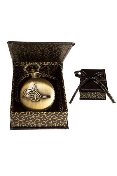 hediyerengi Tuğra Temalı Köstekli Cep Saati