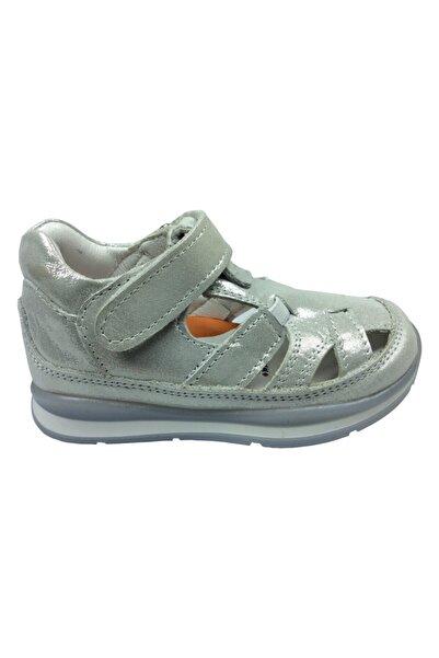 Perlina Ortopedika 3319 Gümüş Parlak Kız Çocuk Sandalet Ortopedik % 100 Deri Anatomik Mantar Taban