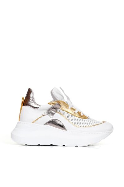 BUENO Shoes Hakiki Deri File Ve Bağcık Detaylı Kadın Spor Ayakkabı 20wq5302