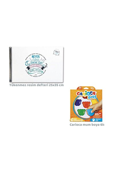 CARIOCA Toospik Akademi Çocuk Tükenmez Resim Defteri&carioca Teddy Crayons 6lı